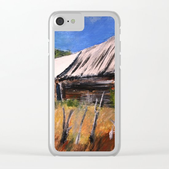 Old Barn New Mexico Desert Contemporary Acrylic Painting Clear iPhone Case