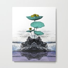 Seascape and Flower Metal Print
