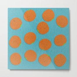Oranges - Fruit, Orange Pattern Illustration  Metal Print
