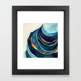 Abstract Blue with Gold Framed Art Print