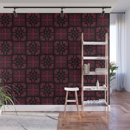 Cherry and black English half-timbered Tudor house pattern Wall Mural