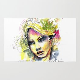 Abstract watercolor portrait Rug