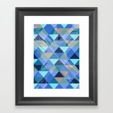 Triangles Blues Framed Art Print