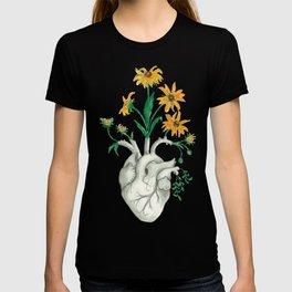 Floral Heart: Sunflower Human Anatomy Halloween Art T-shirt