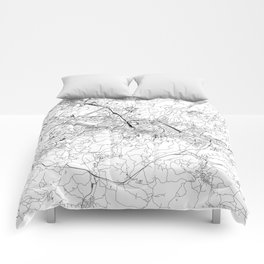 Florence White Map Comforters