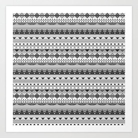 Aztec Black & White Art Print