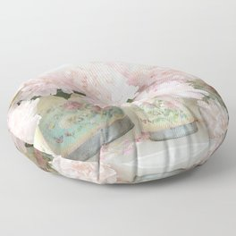 Shabby Chic Dreamy Pastel Peonies Floral Home Decor Floor Pillow