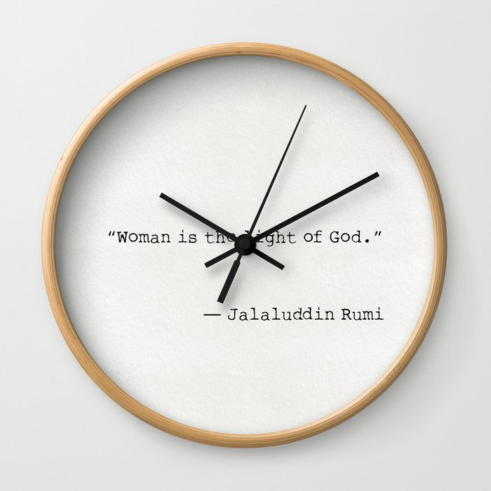 Jalaluddin Rumi Quote Wall Clock By Wildpaperzero