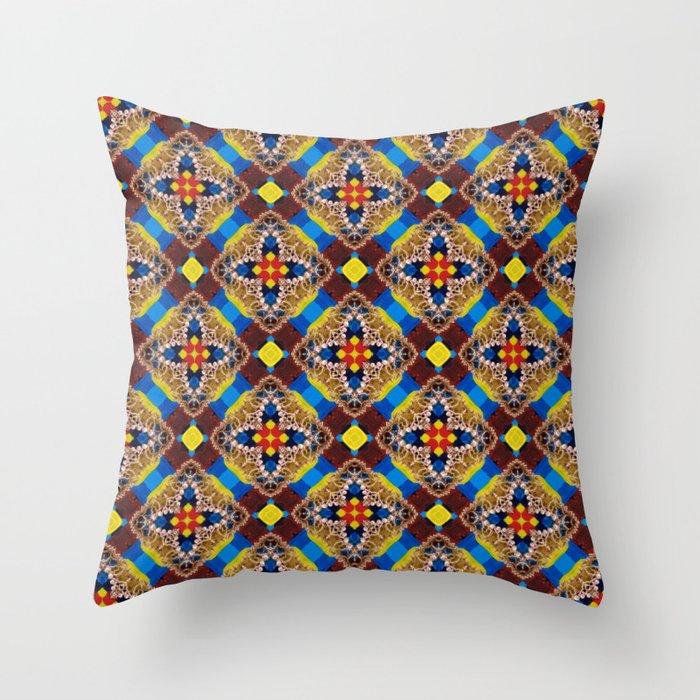 Beautiful Bright Beadwork Inspired Print Throw Pillow