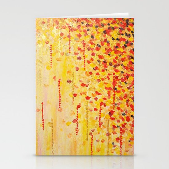 WHEN IT FALLS Bold Autumn Winter Leaves Abstract Acrylic Painting Christmas Red Orange Gold Gift Stationery Cards