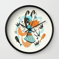 fish Wall Clocks featuring Go Fish by Karl James Mountford