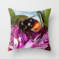 Bee on flower 9 Throw Pillow