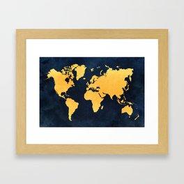 Map of the World - Inverted Gold Framed Art Print