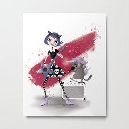 Goth Metal Girl Metal Print