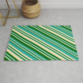 Light Sea Green, Beige, and Dark Green Colored Lined Pattern Rug