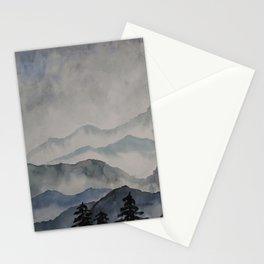 foggy landscape watercolor Stationery Cards