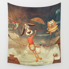 Dog with an umbrella, a small fish and a cat in sky. Wall Tapestry