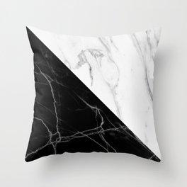 half black half white marble Throw Pillow