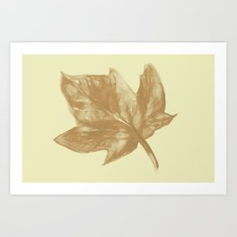Watercolor of autumn dry leaf Art Print