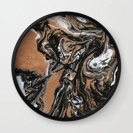 Fluid Gold - Abstract, acrylic, art painting Wall Clock
