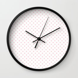 Millennial Pink Pastel Stars on White Wall Clock