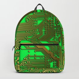 Gold and Neon Green Circuit board Backpack