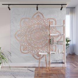 Rose Gold Mandala on White Marble Wall Mural