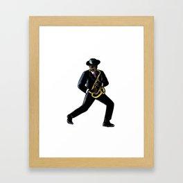 Jazz Musician Playing Saxophone Scratchboard Framed Art Print
