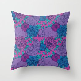 Purple Cats Amongst Flowers Throw Pillow