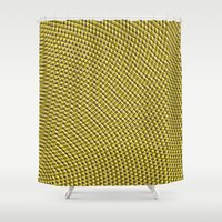 psychedelic art Shower Curtains featuring Gold! psychedelic optical art by aapshop