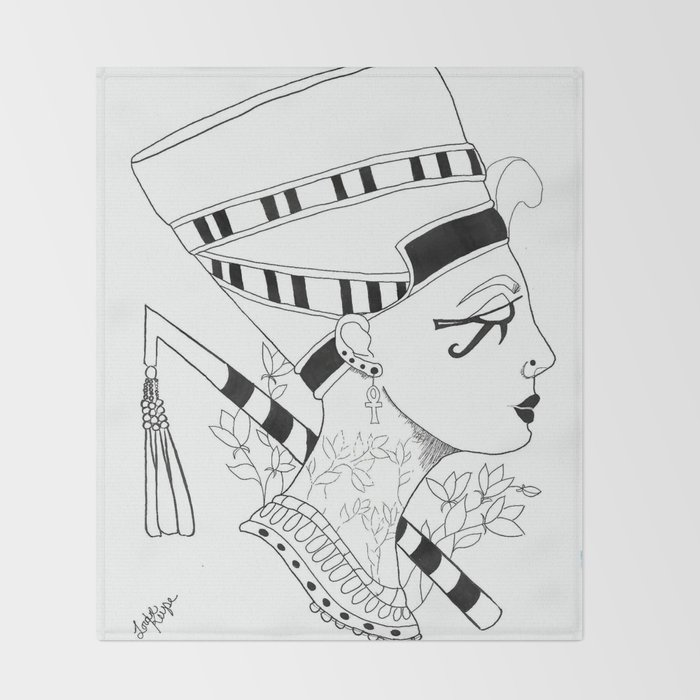 a137050e6 Nefertiti Egyptian Queen Throw Blanket by algonquiins | Society6