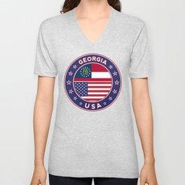 Georgia, Georgia t-shirt, Georgia sticker, circle, Georgia flag, white bg Unisex V-Neck