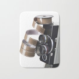 Retro movie camera and reel film Bath Mat