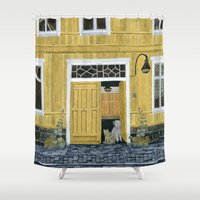 building Shower Curtains featuring Yellow building by Yuliya