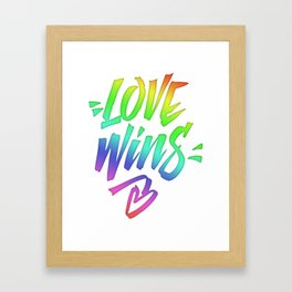 Love Wins Lettering with Rainbow colors Gradient Framed Art Print