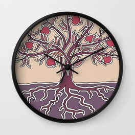 Pomegranate Tree of Life in Mauve and Warm Tones Wall Clock