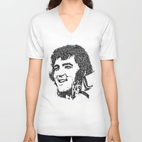 elvis presley V-neck T-shirts featuring Elvis Presley by The Curly Whirl Girly.
