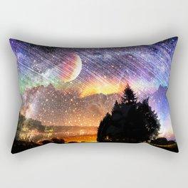Northern lights moon landscape Rectangular Pillow