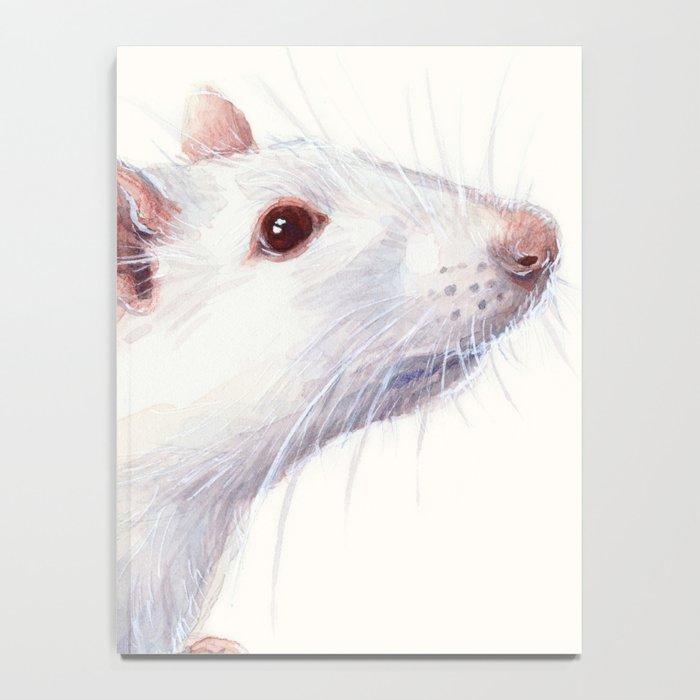 White Rat Watercolor Albino Rat Animal Notebook