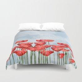 Poppyfield poppies poppy blue sky - watercolor artwork Duvet Cover