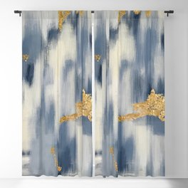 Blue and Gold Ikat Pattern Abstract Blackout Curtain