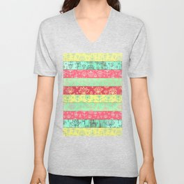 Lily & Lotus Layers in Mint Green, Coral & Buttercup Yellow Unisex V-Neck