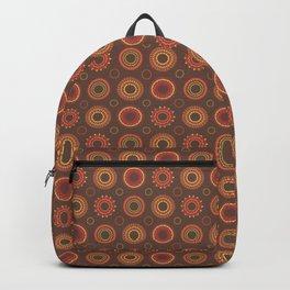 Retro Red Polynesian Floral Mandala Pattern Backpack