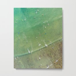 Drone Shot of Surfers from above Metal Print
