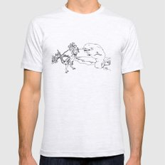 Narwal and Velociraptor Fighting over Bacon SMALL Ash Grey Mens Fitted Tee