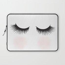 Shy, Woman With Closed Eyes Fashion Illustration  Laptop Sleeve