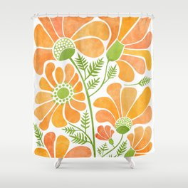 Happy California Poppies / hand drawn flowers Shower Curtain