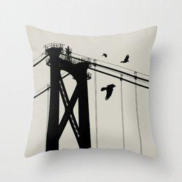 Bridge - Graphic Birds Series, Plain - Modern Home Decor Throw Pillow