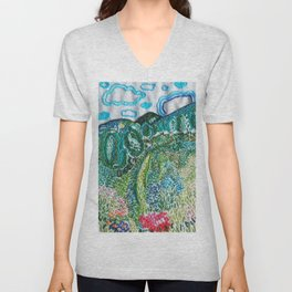 cheerful handmade embroidery in the digital world Unisex V-Neck