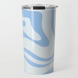 Soft Liquid Swirl Abstract Pattern Square in Powder Blue Travel Mug